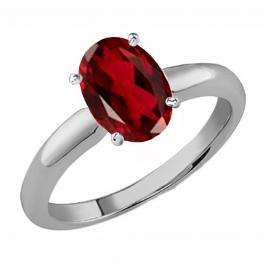 1.00 Carat (Ctw) Sterling Silver Oval Cut Garnet Ladies Solitaire Bridal Engagement Ring 1 CT
