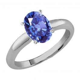 1.00 Carat (Ctw) Sterling Silver Oval Cut Tanzanite Ladies Solitaire Bridal Engagement Ring 1 CT
