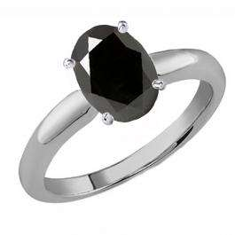 1.50 Carat (Ctw) Sterling Silver Oval Cut Black Sapphire Ladies Solitaire Bridal Engagement Ring 1 1/2 CT