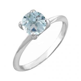 1.00 Carat (ctw) Sterling Silver Round Cut Aquamarine Ladies Solitaire Bridal Engagement Ring 1 CT