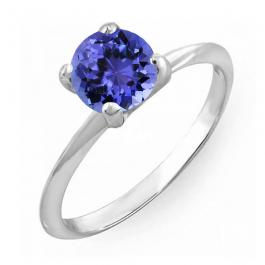1.00 Carat (ctw) Sterling Silver Round Cut Tanzanite Ladies Solitaire Bridal Engagement Ring 1 CT