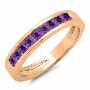 0.75 Carat (ctw) 10K Rose Gold Princess Cut Amethyst Ladies Anniversary Wedding Band Stackable Ring 3/4 CT