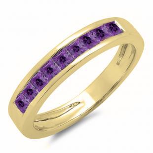 0.75 Carat (ctw) 10K Yellow Gold Princess Cut Amethyst Ladies Anniversary Wedding Band Stackable Ring 3/4 CT