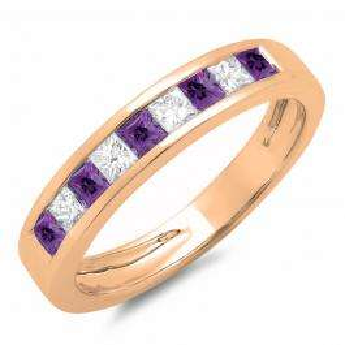 0.75 Carat (ctw) 10K Rose Gold Princess Cut Amethyst & White Diamond Ladies Anniversary Wedding Band Stackable Ring 3/4 CT