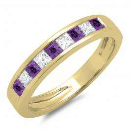 0.75 Carat (ctw) 10K Yellow Gold Princess Cut Amethyst & White Diamond Ladies Anniversary Wedding Band Stackable Ring 3/4 CT
