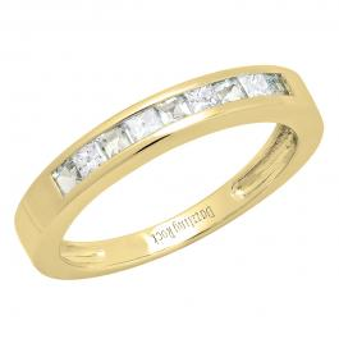 0.75 Carat (ctw) 10K Yellow Gold Princess Cut Aquamarine & White diamond Ladies Anniversary Wedding Band Stackable Ring 3/4 CT
