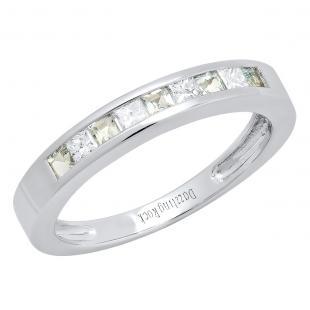 0.75 Carat (ctw) 14K White Gold Princess Cut Aquamarine & White diamond Ladies Anniversary Wedding Band Stackable Ring 3/4 CT