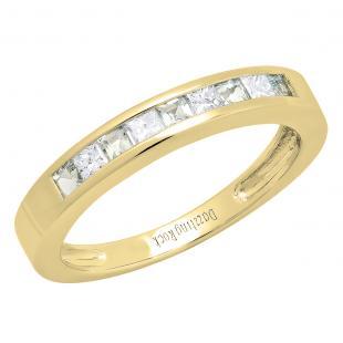 0.75 Carat (ctw) 14K Yellow Gold Princess Cut Aquamarine & White diamond Ladies Anniversary Wedding Band Stackable Ring 3/4 CT
