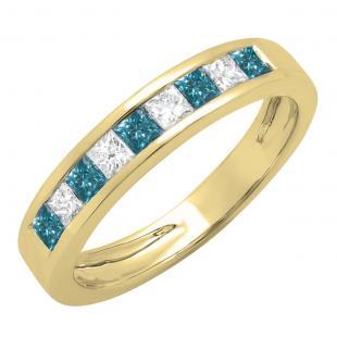 0.75 Carat (ctw) 18K Yellow Gold Princess Cut Blue & White Diamond Ladies Anniversary Wedding Band Stackable Ring 3/4 CT