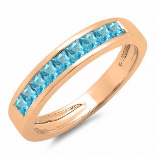 0.75 Carat (ctw) 14K Rose Gold Princess Cut Blue Topaz Ladies Anniversary Wedding Band Stackable Ring 3/4 CT