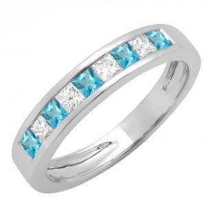 0.75 Carat (ctw) 10K White Gold Princess Cut Blue Topaz & White Diamond Ladies Anniversary Wedding Band Stackable Ring 3/4 CT