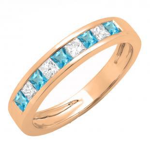 0.75 Carat (ctw) 14K Rose Gold Princess Cut Blue Topaz & White Diamond Ladies Anniversary Wedding Band Stackable Ring 3/4 CT