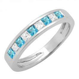 0.75 Carat (ctw) 14K White Gold Princess Cut Blue Topaz & White Diamond Ladies Anniversary Wedding Band Stackable Ring 3/4 CT