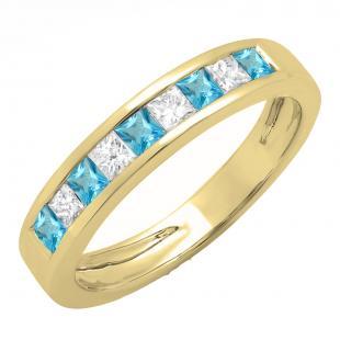 0.75 Carat (ctw) 14K Yellow Gold Princess Cut Blue Topaz & White Diamond Ladies Anniversary Wedding Band Stackable Ring 3/4 CT