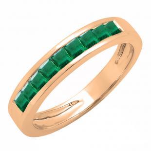 0.75 Carat (ctw) 10K Rose Gold Princess Cut Emerald Ladies Anniversary Wedding Band Stackable Ring 3/4 CT