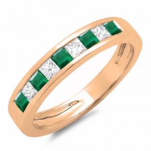 0.65 Carat (ctw) 18K Rose Gold Princess Cut Emerald & Rose Diamond Ladies Anniversary Wedding Band Stackable Ring