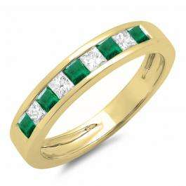 0.65 Carat (ctw) 18K Yellow Gold Princess Cut Emerald & Yellow Diamond Ladies Anniversary Wedding Band Stackable Ring