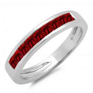 0.75 Carat (ctw) 18K White Gold Princess Cut Garnet Ladies Anniversary Wedding Band Stackable Ring 3/4 CT