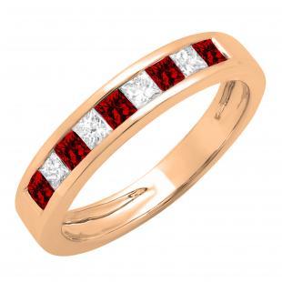 0.55 Carat (ctw) 14K Rose Gold Princess Cut Garnet & White Diamond Ladies Anniversary Wedding Band Stackable Ring 1/2 CT