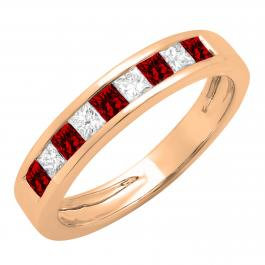 0.55 Carat (ctw) 18K Rose Gold Princess Cut Garnet & White Diamond Ladies Anniversary Wedding Band Stackable Ring 1/2 CT