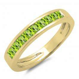 0.75 Carat (ctw) 14K Yellow Gold Princess Cut Peridot Ladies Anniversary Wedding Band Stackable Ring 3/4 CT