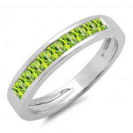 0.75 Carat (ctw) 18K White Gold Princess Cut Peridot Ladies Anniversary Wedding Band Stackable Ring 3/4 CT