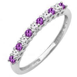 0.33 Carat (ctw) 10K White Gold Round Amethyst & White Diamond Anniversary Stackable Wedding Band 1/3 CT