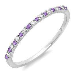 0.10 Carat (ctw) 10K White Gold Round Amethyst & White Diamond Ladies Anniversary Wedding Band Stackable Ring