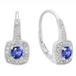 0.65 Carat (ctw) 10K White Gold Round Cut Tanzanite & White Diamond Ladies Halo Style Dangling Earrings