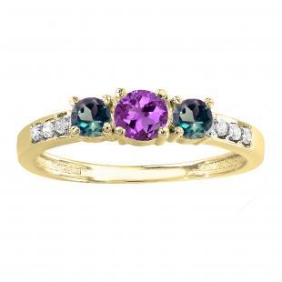 0.50 Carat (ctw) 14K Yellow Gold Round Amethyst, Alexandrite & White Diamond Ladies Three Stone Engagement Bridal Ring 1/2 CT
