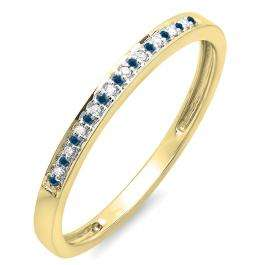 0.10 Carat (ctw) 14K Yellow Gold Round Blue & White Diamond Ring Wedding Anniversary Stackable Band 1/10 CT