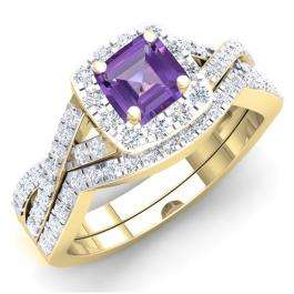 1.55 Carat (ctw) 14K Yellow Gold Princess Cut Amethyst & Round White Cubic Zirconia CZ Ladies Swirl Split Shank Bridal Halo Engagement Ring With Matching Band Set 1 1/2 CT