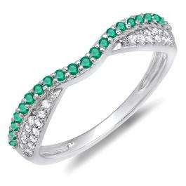 0.36 Carat (ctw) 14K White Gold Round Tsavorite & White Diamond Ladies Anniversary Wedding Band Stackable Ring 1/3 CT