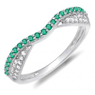 0.36 Carat (ctw) 14K White Gold Round Tsavorite & White Diamond Ladies Anniversary Wedding Band Stackable Ring 1/3 CT