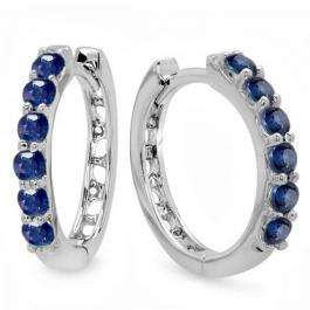 0.50 Carat (ctw) 18K White Gold Round Blue Sapphire Ladies Hoop Earrings 1/2 CT