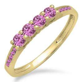 0.50 Carat (ctw) 18K Yellow Gold Round Pink Sapphire Ladies Bridal Anniversary Wedding Band Stackable Ring 1/2 CT