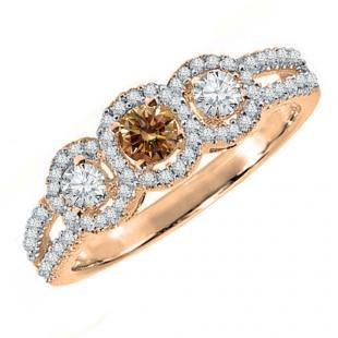 0.50 Carat (ctw) 18K Rose Gold Round Champagne & White Diamond Ladies 3 Stone Split Shank Bridal Engagement Ring 1/2 CT