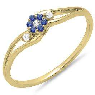 0.10 Carat (ctw) 14K Yellow Gold Round White Diamond & Blue Sapphire Ladies Bridal Swirl Split Shank Cluster Promise Ring 1/10 CT
