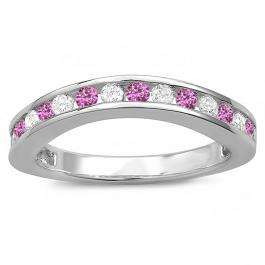 0.75 Carat (ctw) 14K White Gold Round Pink Sapphire & Diamond Ladies Curved Guard Matching Bridal Wedding Band 3/4 CT