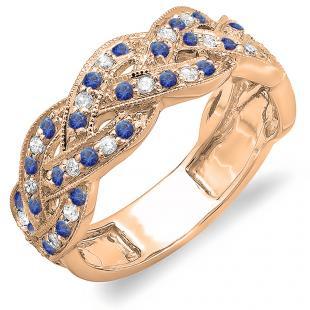 0.58 Carat (ctw) 18K Rose Gold Round White Diamond & Blue Sapphire Ladies Anniversary Wedding Matching Band Stackable Swirl Ring 1/2 CT