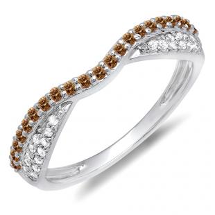 0.36 Carat (ctw) 10K White Gold Round Champagne & White Diamond Ladies Anniversary Wedding Band Stackable Ring 1/3 CT