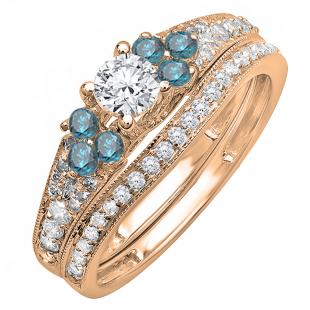 1.00 Carat (ctw) 14K Rose Gold Round Blue And White Diamond Ladies Bridal Engagement Ring Matching Band Set