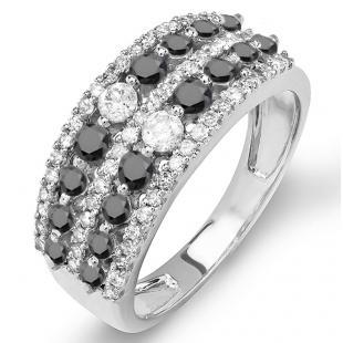 1.15 Carat (ctw) 10K White Gold Round Black And White Diamond Ladies Anniversary Wedding Band Ring