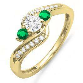 0.80 Carat (ctw) 10K Yellow Gold Round Tsavorite & White Diamond Ladies Swirl 3 Stone Bridal Engagement Ring 3/4 CT