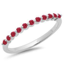 0.25 Carat (ctw) 18K White Gold Round Ruby Ladies 11 Stone Anniversary Wedding Stackable Band 1/4 CT