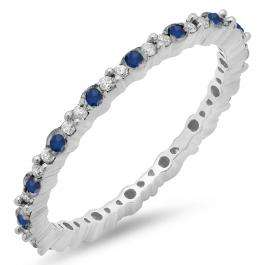 0.39 Carat (ctw) 10K White Gold Round Blue Sapphire & White Diamond Ladies Eternity Anniversary Stackable Ring Wedding Band