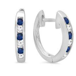 0.36 Carat (ctw) 18K White Gold Round White Diamond & Blue Sapphire Ladies Hoop Earrings 1/3 CT