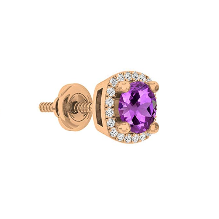 18K Rose Gold 5 MM Each Round Gemstone & White Diamond Ladies Halo Stud Earring(1PC Only)