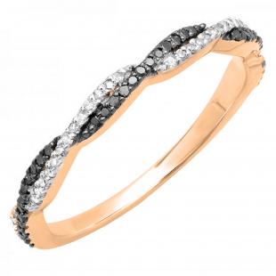 0.25 Carat (ctw) 10K Rose Gold Round Black & White Diamond Swirl Wedding Stackable Band 1/4 CT
