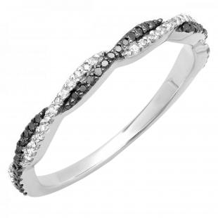 0.25 Carat (ctw) 14K White Gold Round Black & White Diamond Swirl Wedding Stackable Band 1/4 CT